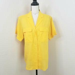 Vintage CD Christian Dior yellow linen Shirt top L